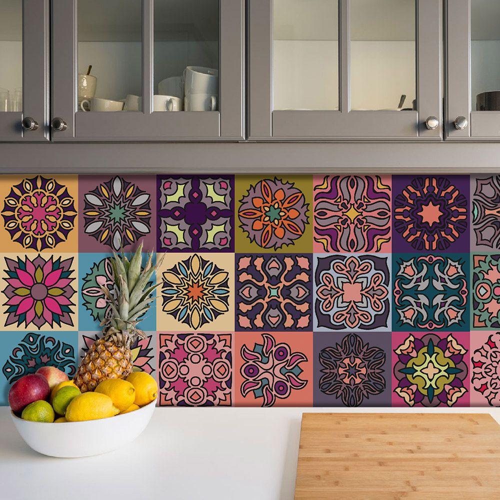 Adesivo Azulejo Português Ladrilho Para Cozinha Mod9