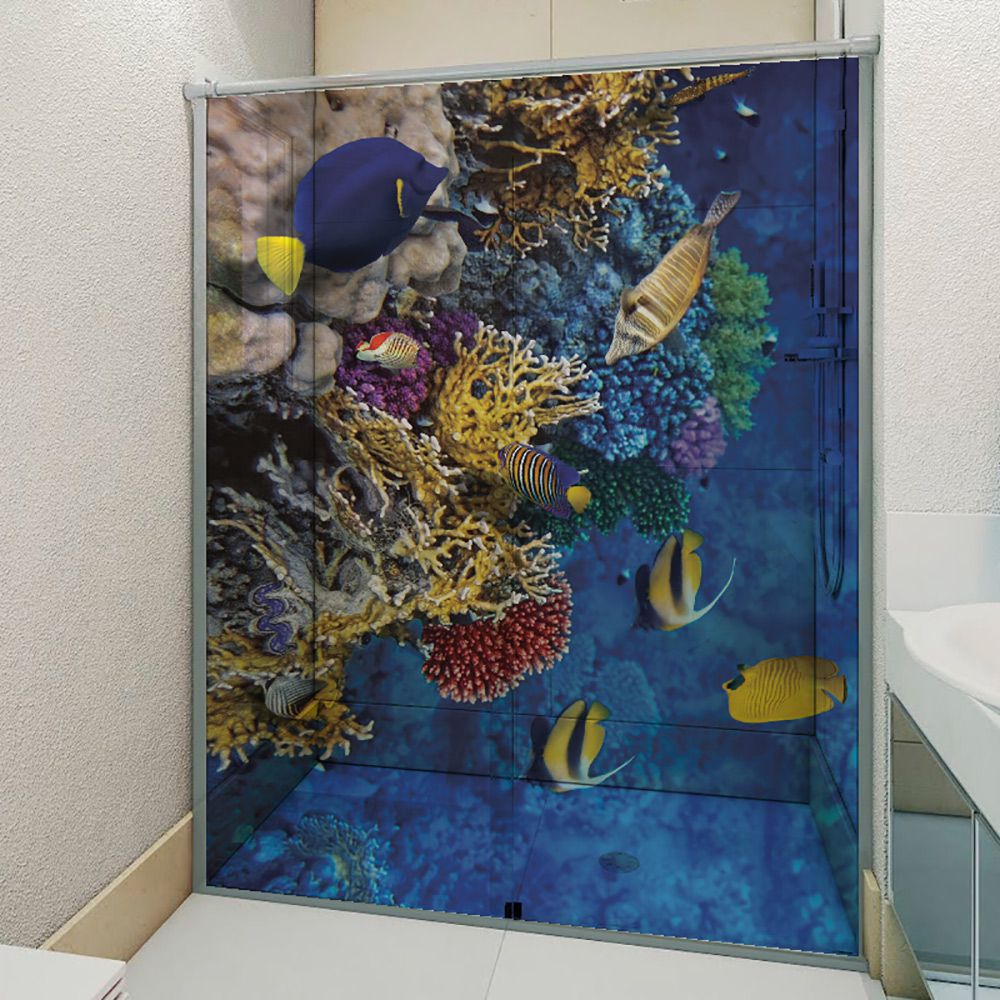 Adesivo Box Banheiro 3d Sob Medida - Mod 198