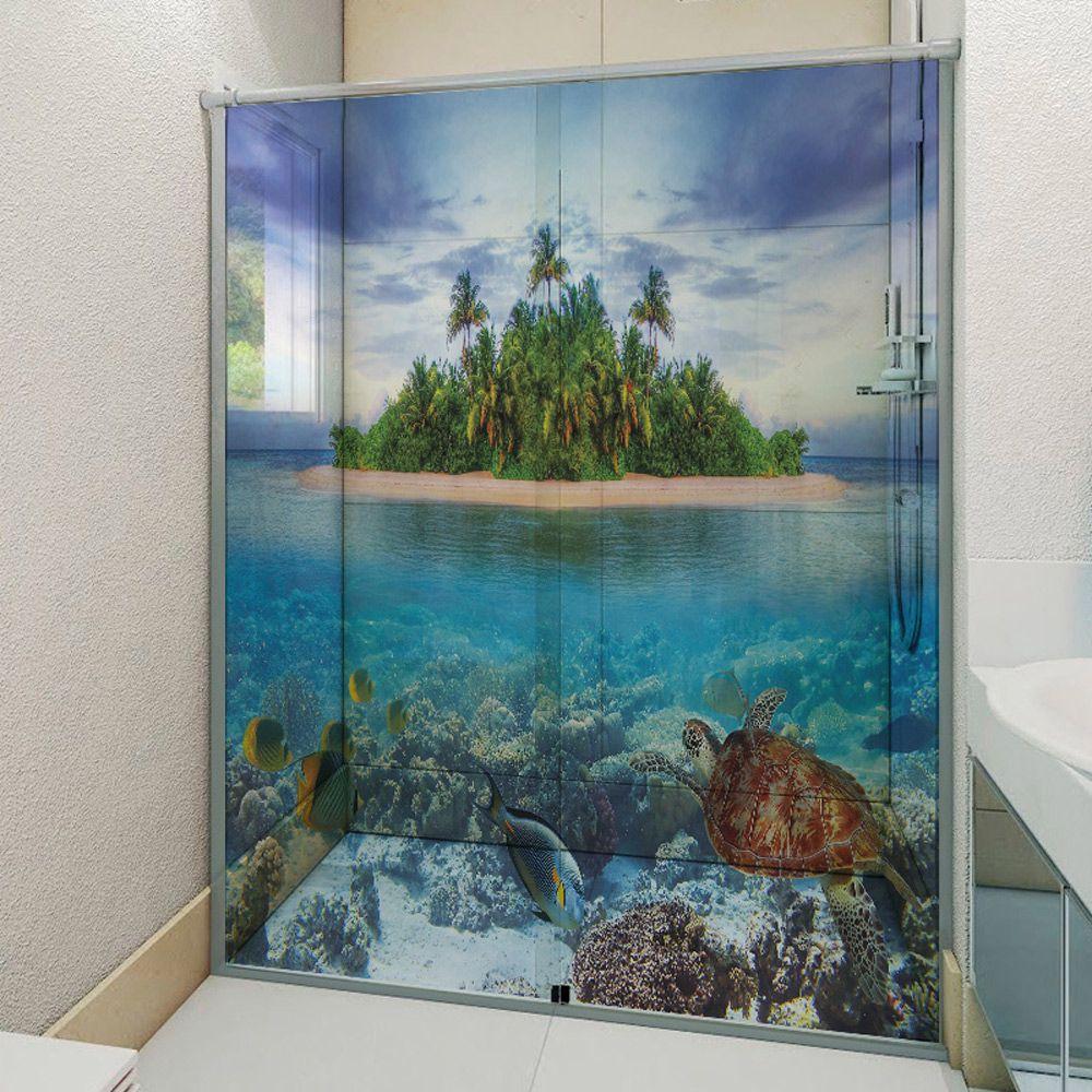 Adesivo Box Banheiro 3d Sob Medida - Mod 84