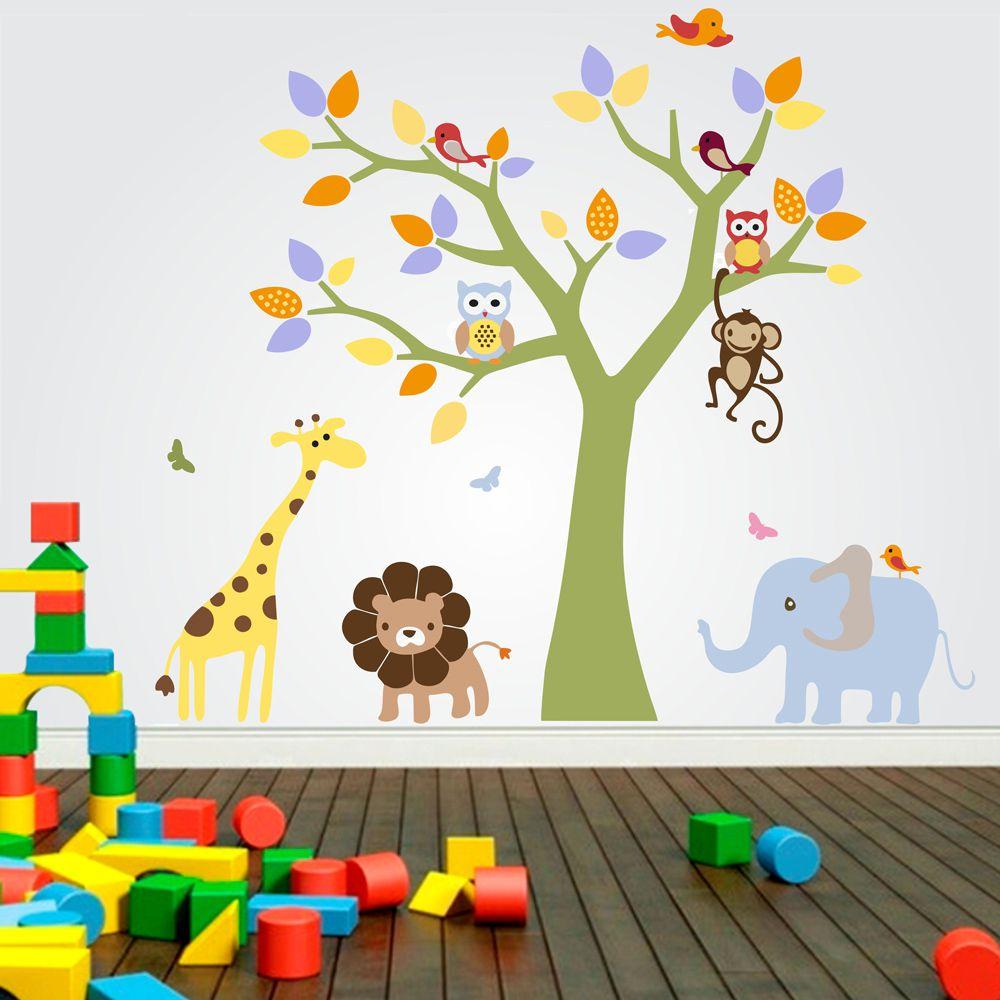Adesivo De Parede Infantil Arvore Galho Zoo Safari Bichos