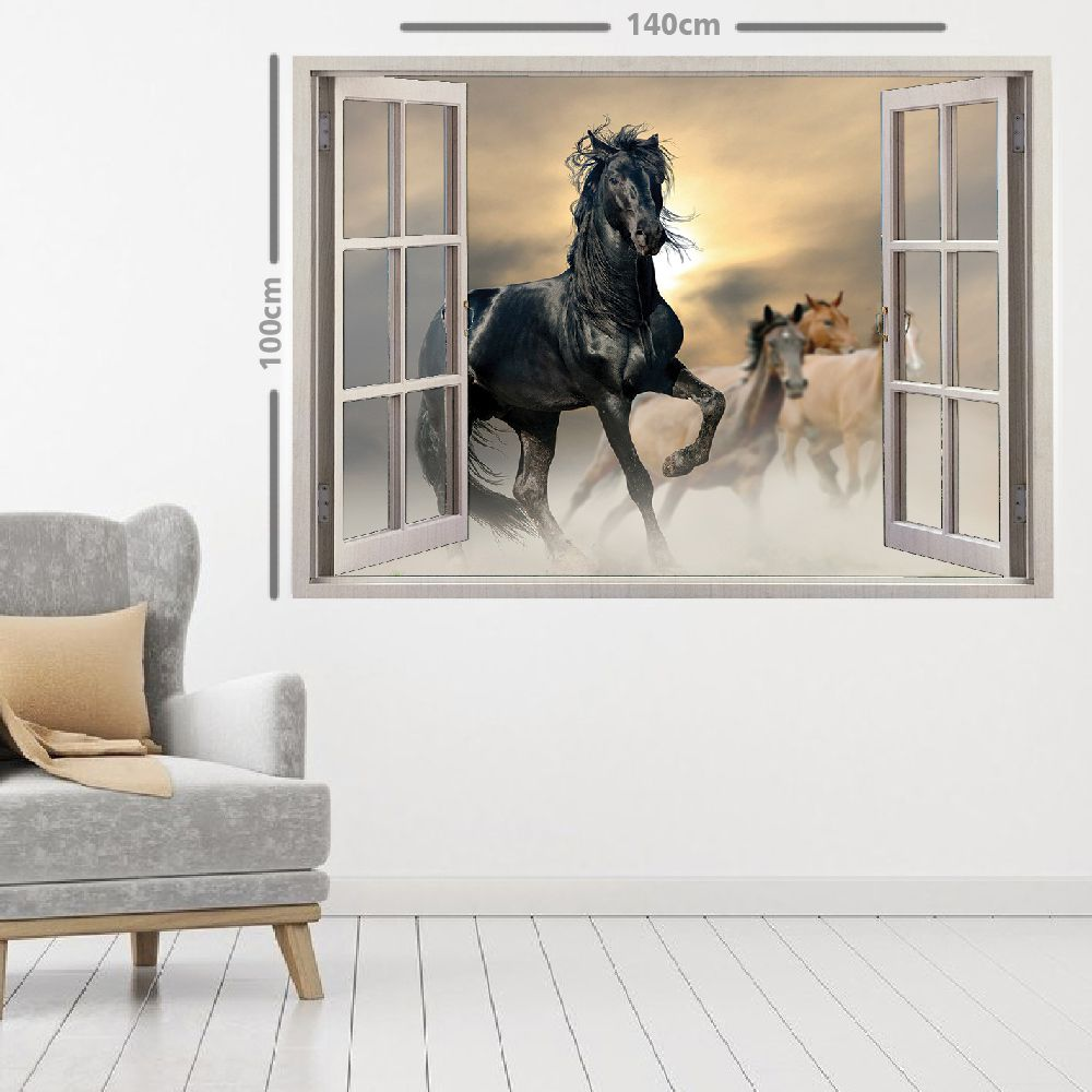 Adesivo de Parede  Janela Cavalo Corredor 1,4x1m