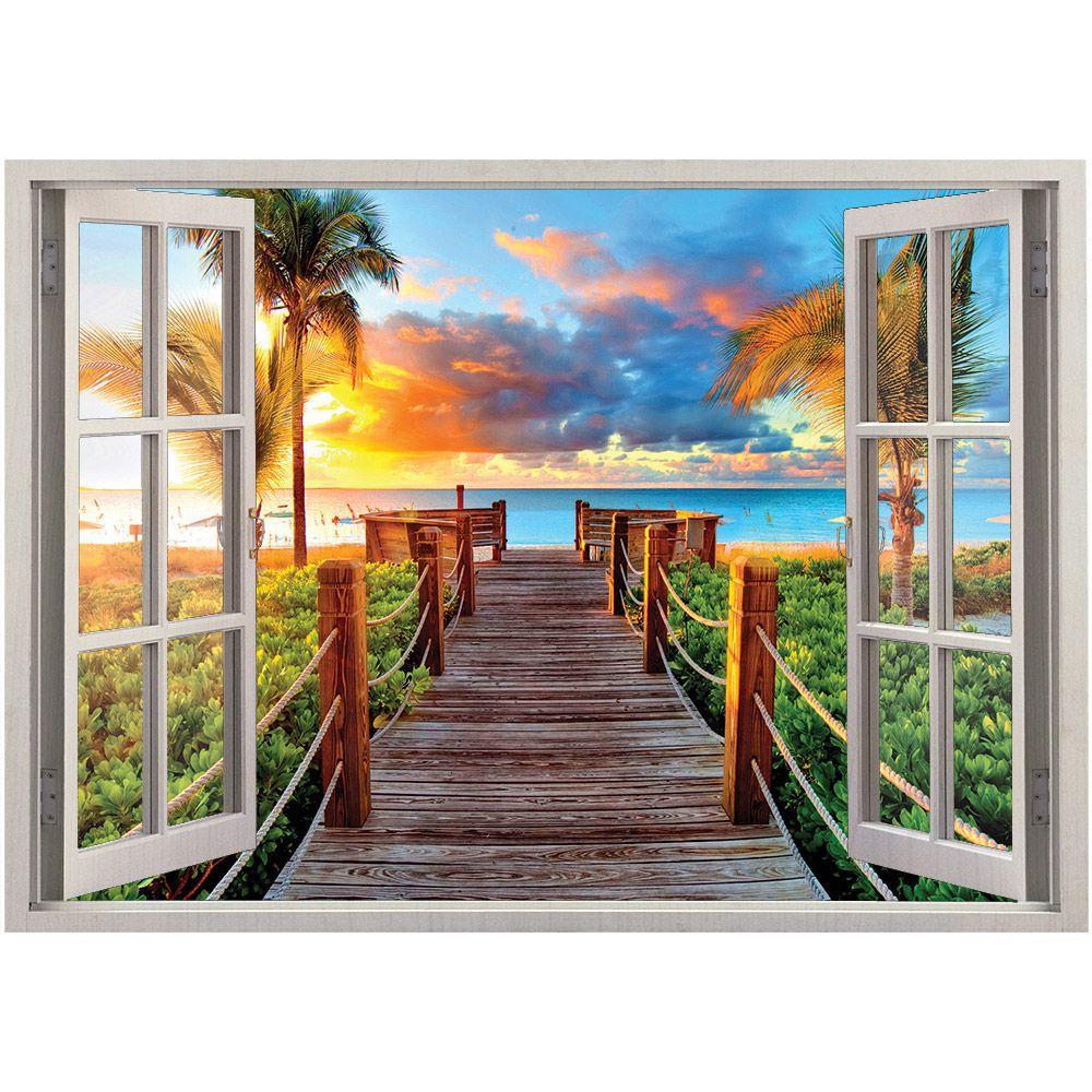 Adesivo de Parede  Janela Deck Paraíso 1,4x1m