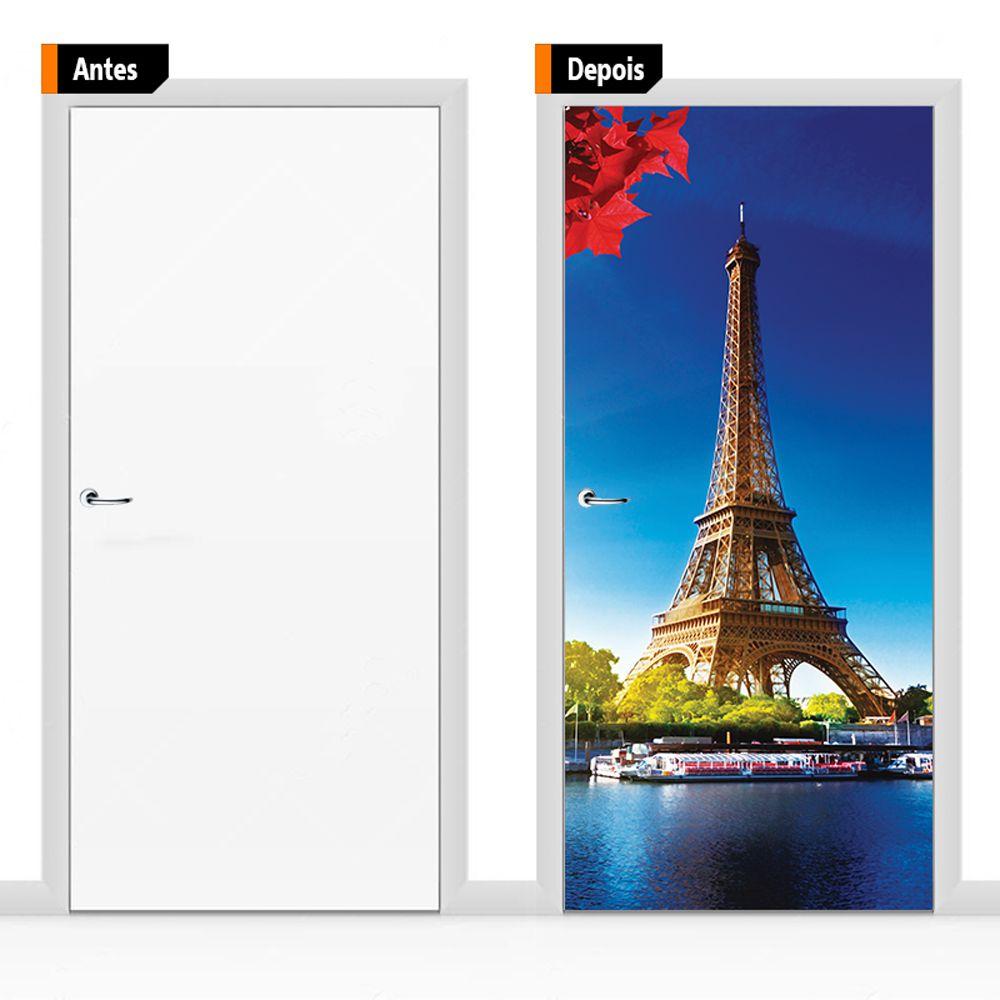 Adesivo Decorativo Para Porta Paisagem Torre Eifel Psg03