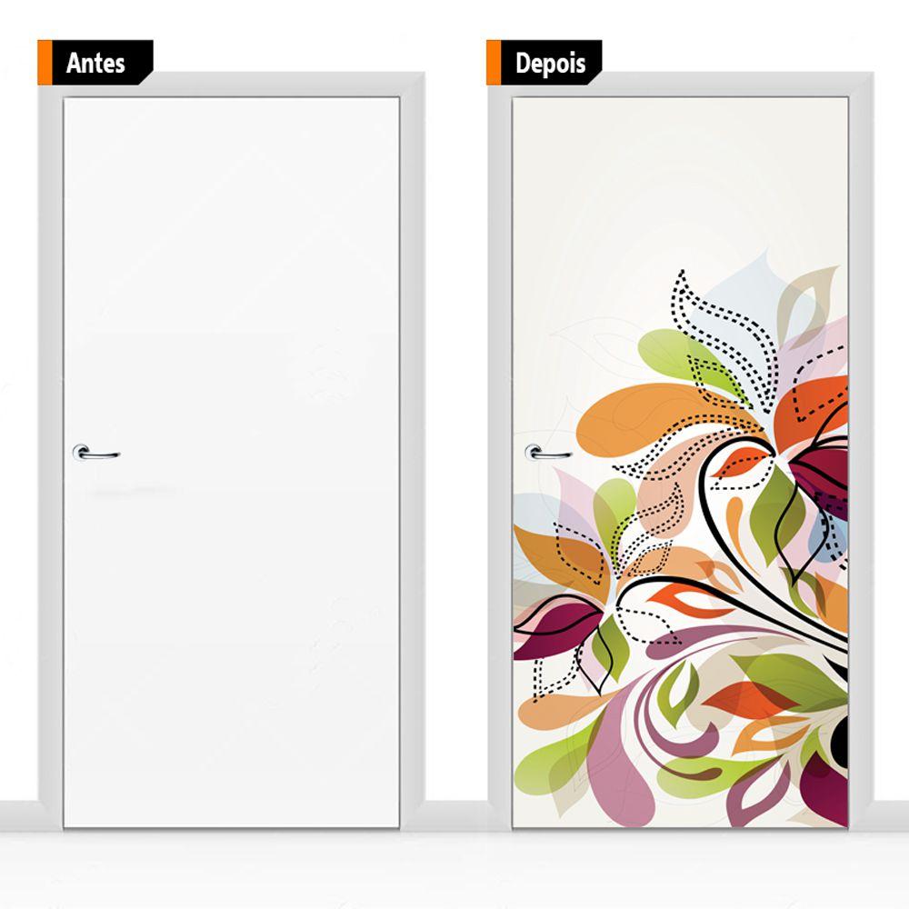 Adesivo Decorativo Para Porta Textura Floral Flores Flo09