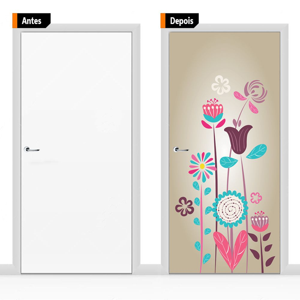Adesivo Decorativo Para Porta Textura Floral Fundo Mar Flo08