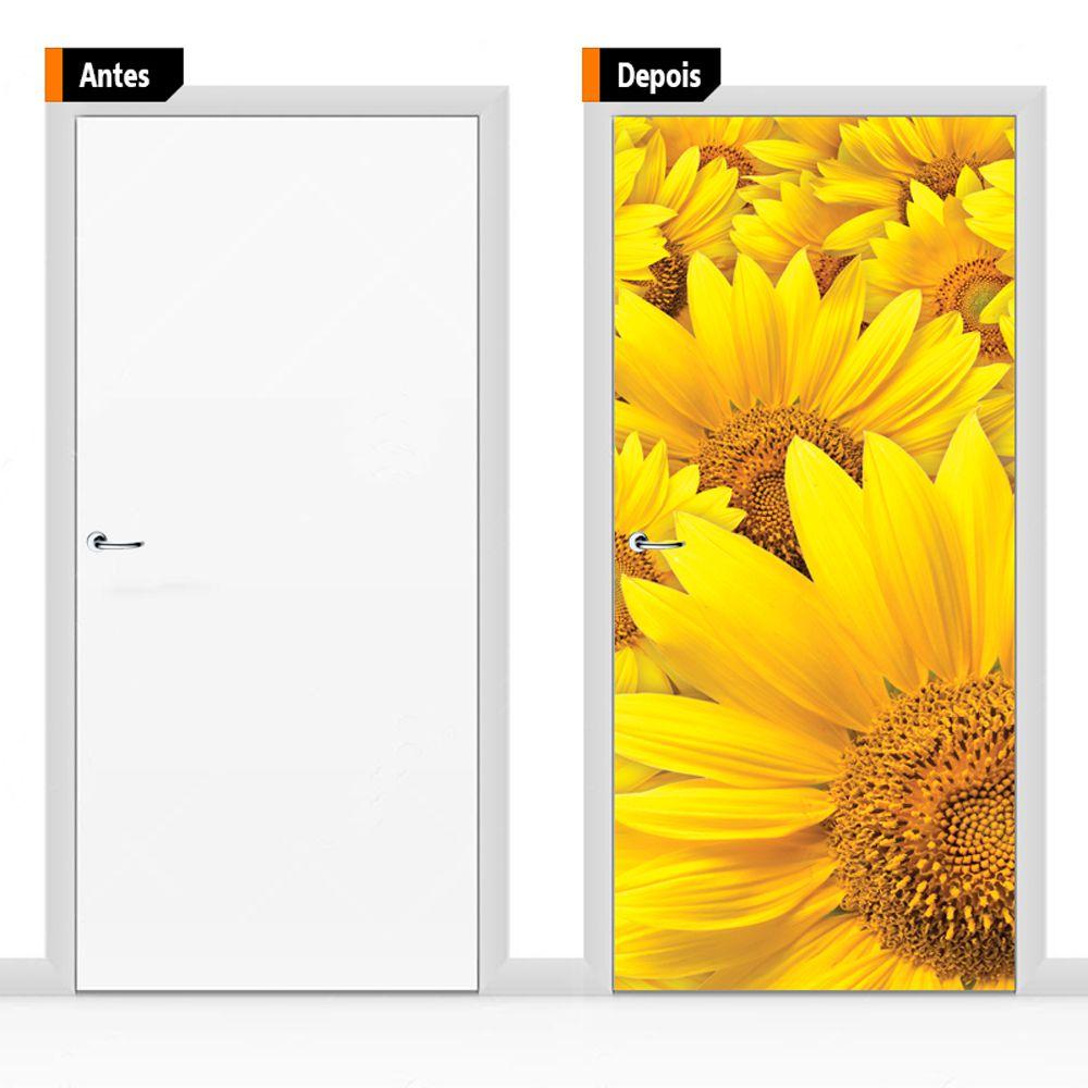 Adesivo Decorativo Para Porta Textura Girassol Flo04
