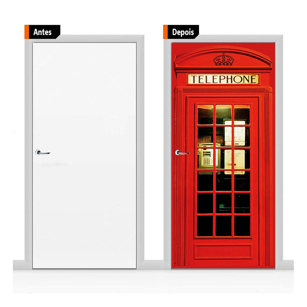 Adesivo Decorativo Porta Cabine Telefônica de Londres Pex08
