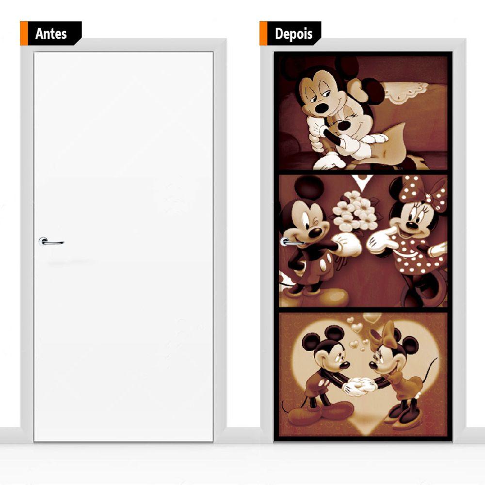 Adesivo Decorativo Porta Mickey e Minie