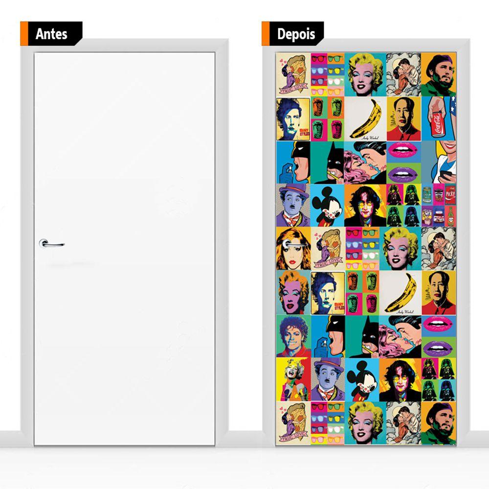 Adesivo Decorativo Porta Pop Art