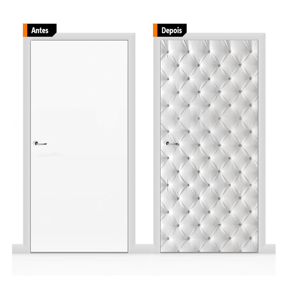 Adesivo Decorativo Porta Textura Capitone Branco