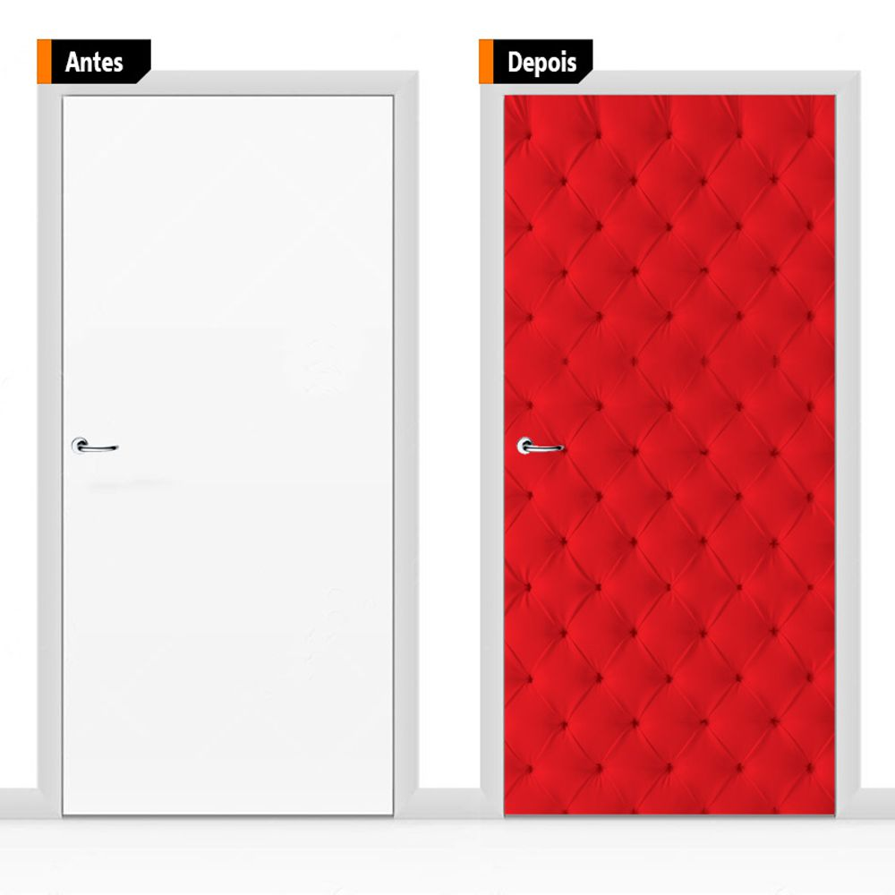 Adesivo Decorativo Porta Textura Capitone Vermelho