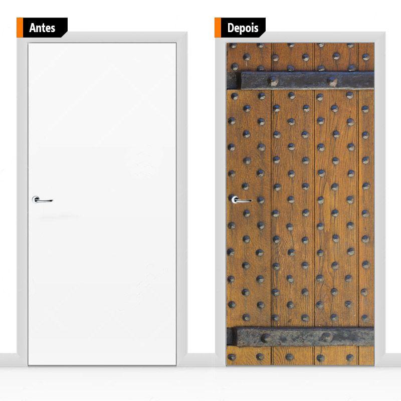 Adesivo Decorativo Porta Textura Madeira Pex05