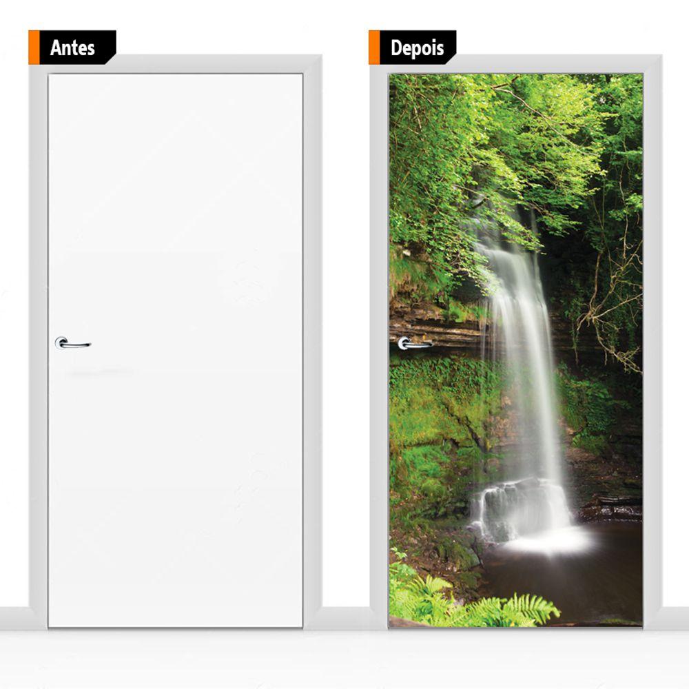 Adesivo Para Porta Textura Paisagem Cachoeira Psg6