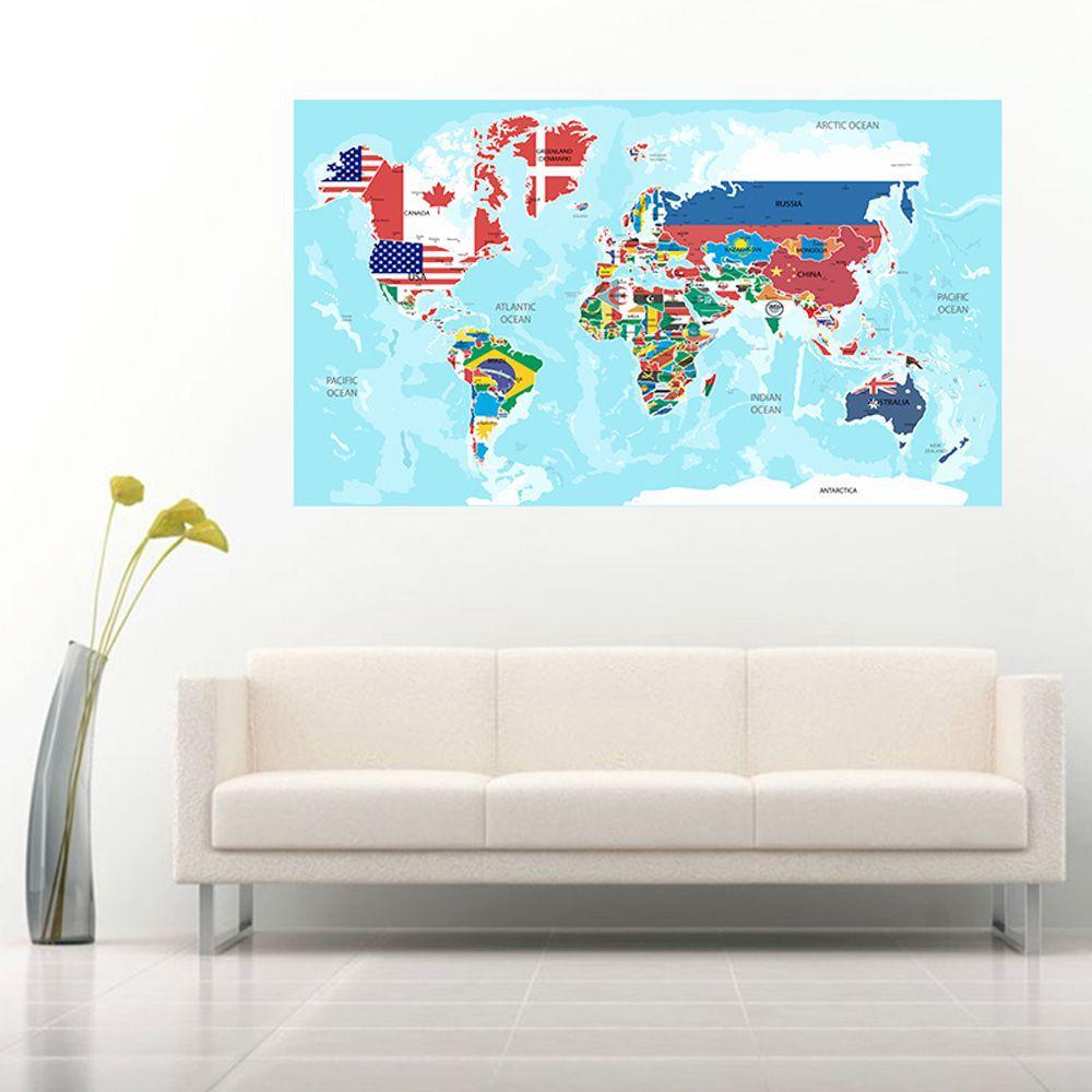 Adesivo Parede Decorativo Mapas Mundi Países Capitais