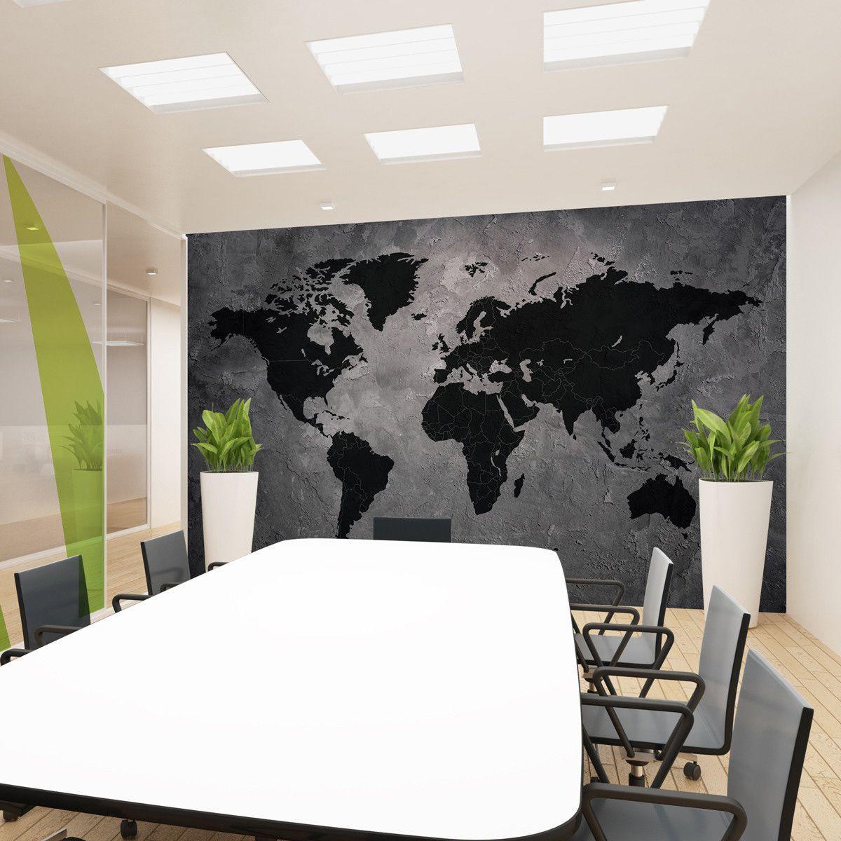 Adesivo Parede Mapa Mundi Painel Cimento Queimado Vinílico