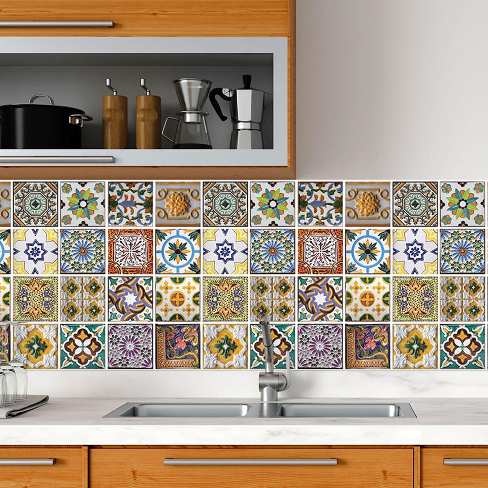 Papel De Parede Para Cozinha Azulejo Português Lavável Mod2