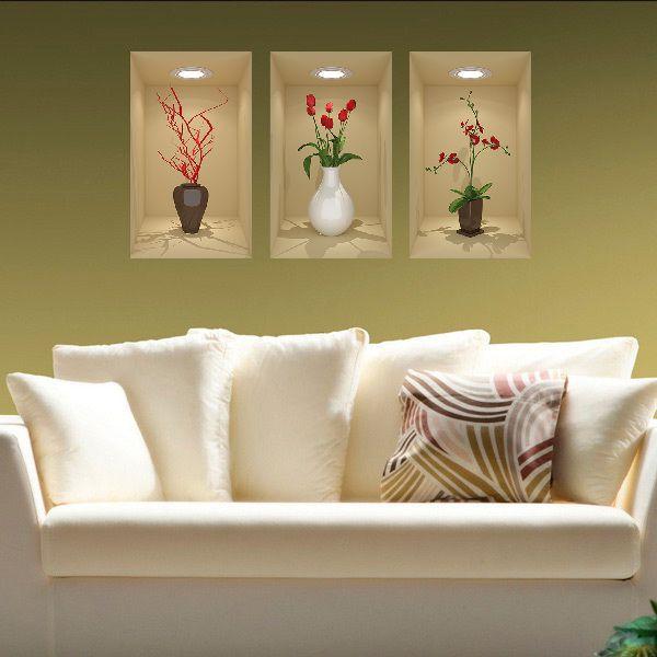 Painel Adesivo Parede Quadro 3d Nichos Vasos Ref- Bege