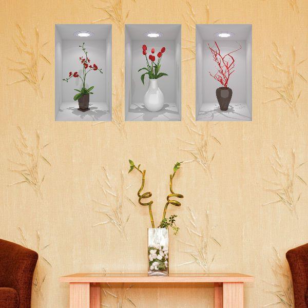 Painel Adesivo Parede Quadro 3d Nichos Vasos Ref- Branco