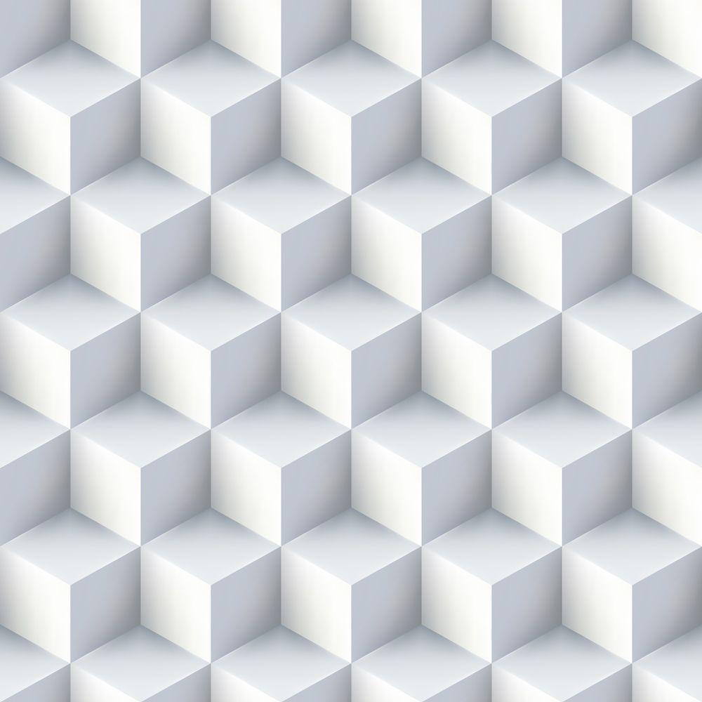 Papel De Parede 3d Branco Autocolante Rolo 0,50x3,00