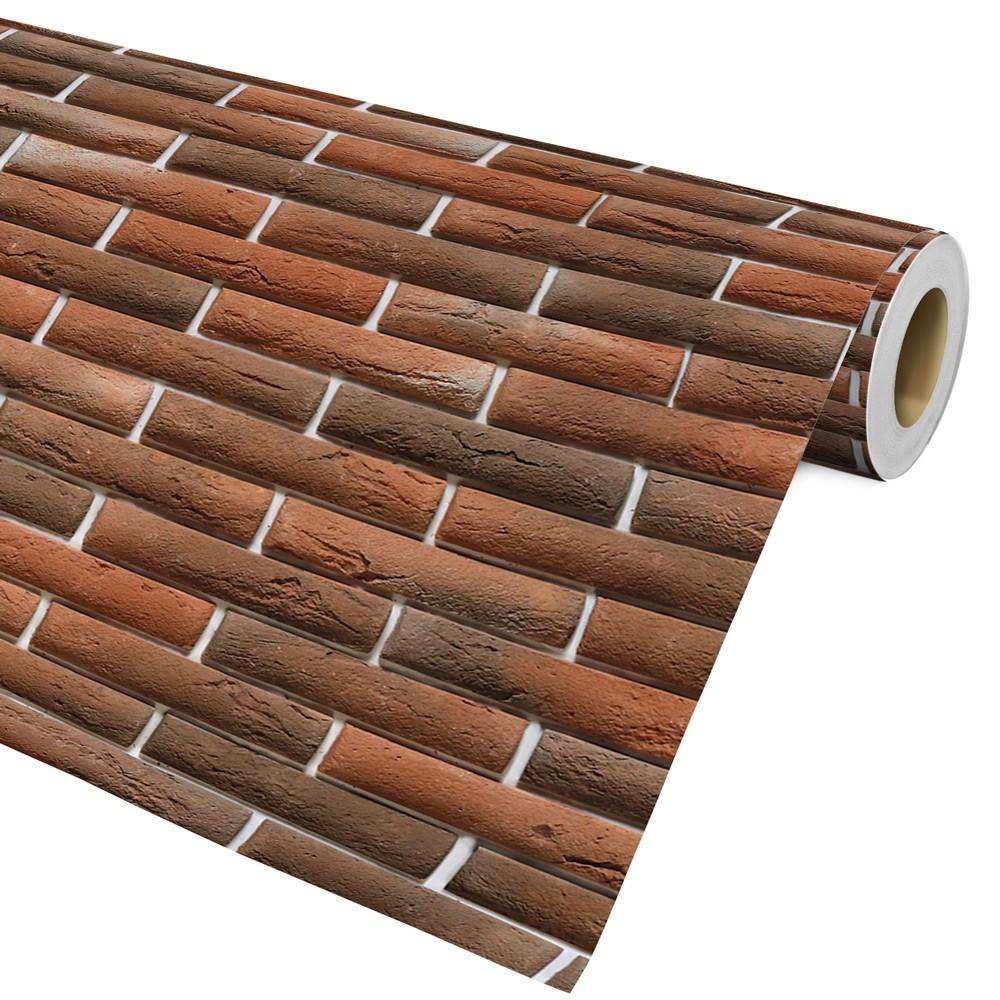 Papel De Parede Auto Adesivo Decorativo Tijolo Marrom Ref010