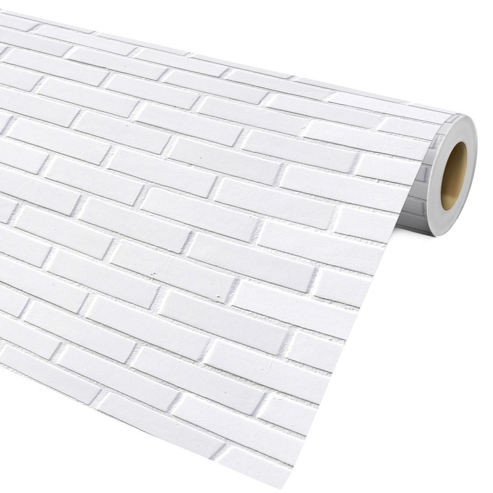 Papel De Parede Auto Adesivo Decorativo Tijolo Branco  Ref27