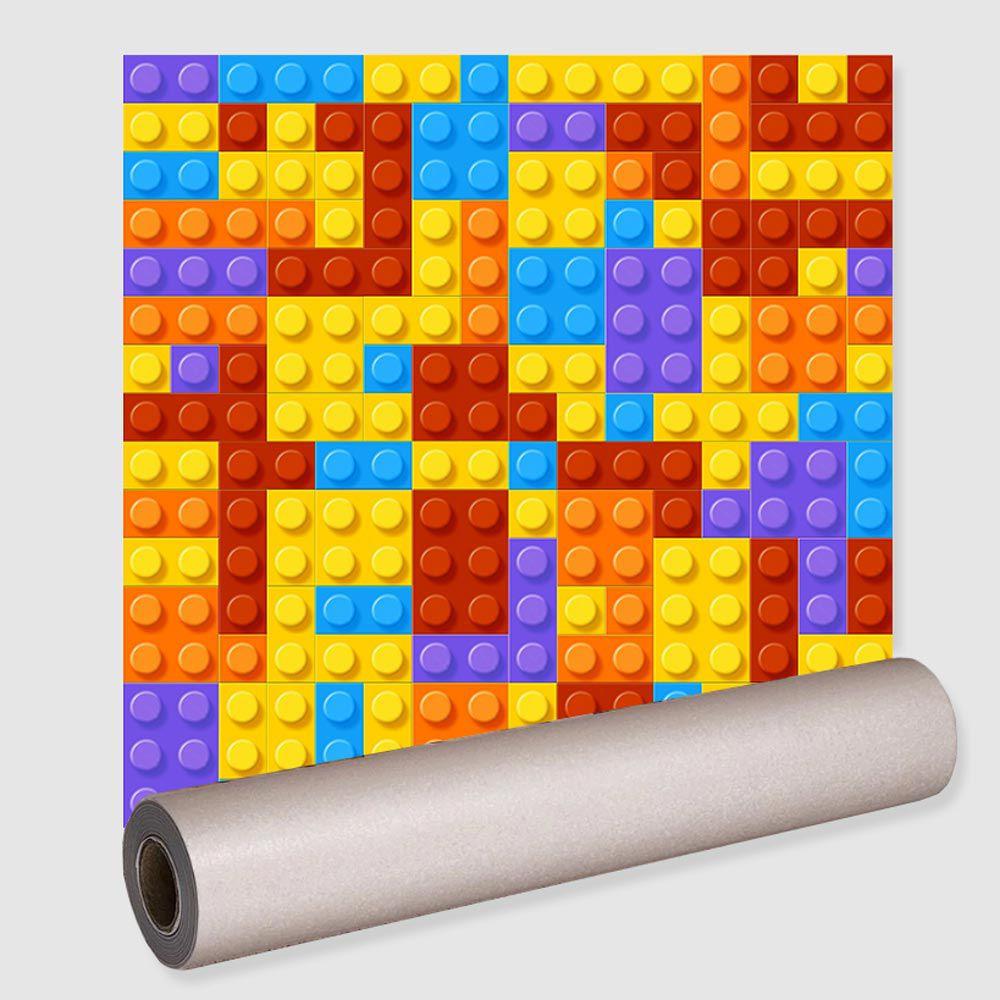 Papel De Parede Blocos Bloquinhos Lavável Rolo 0,50x3,00
