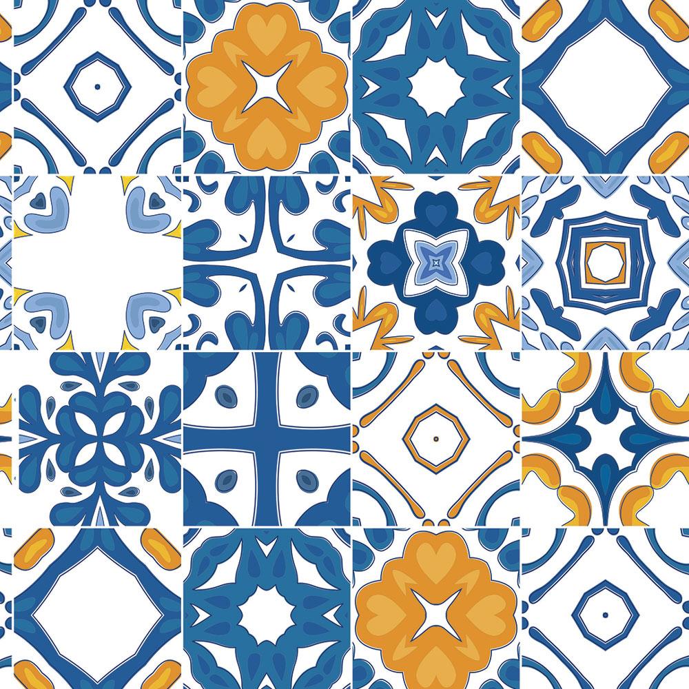 Papel De Parede Para Cozinha Azulejo Português Lavável Mod13