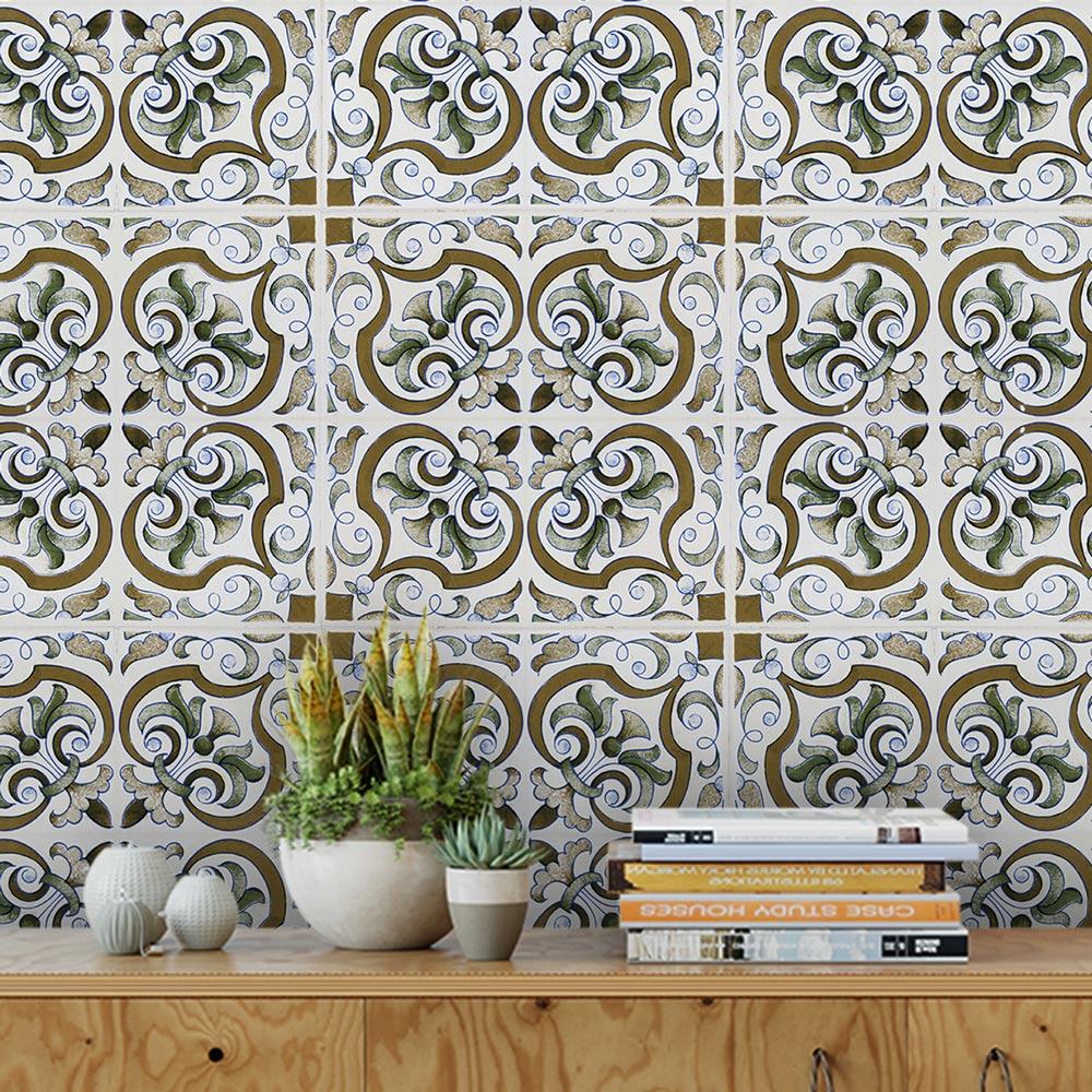Papel De Parede Para Cozinha Azulejo Português Lavável Mod18