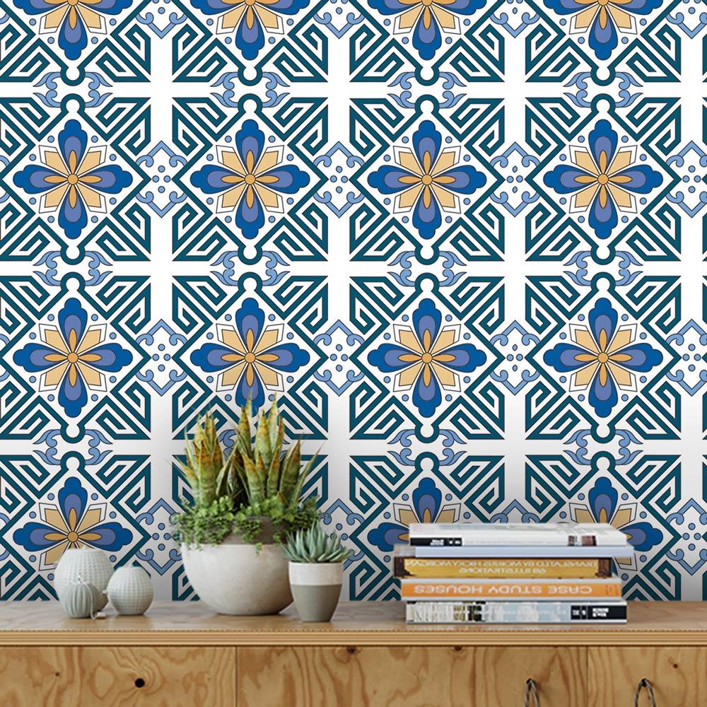 Papel De Parede Para Cozinha Azulejo Português Lavável Mod28