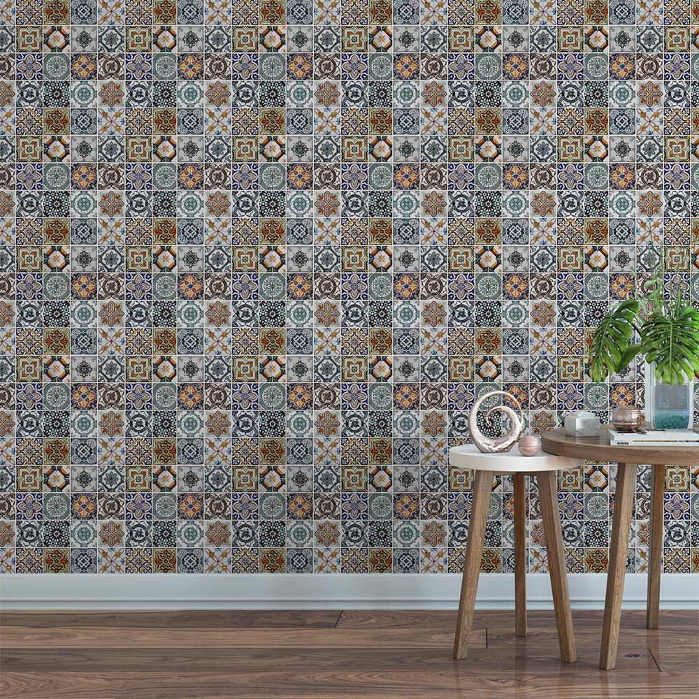 Papel De Parede Para Cozinha Azulejo Português Lavável Mod3
