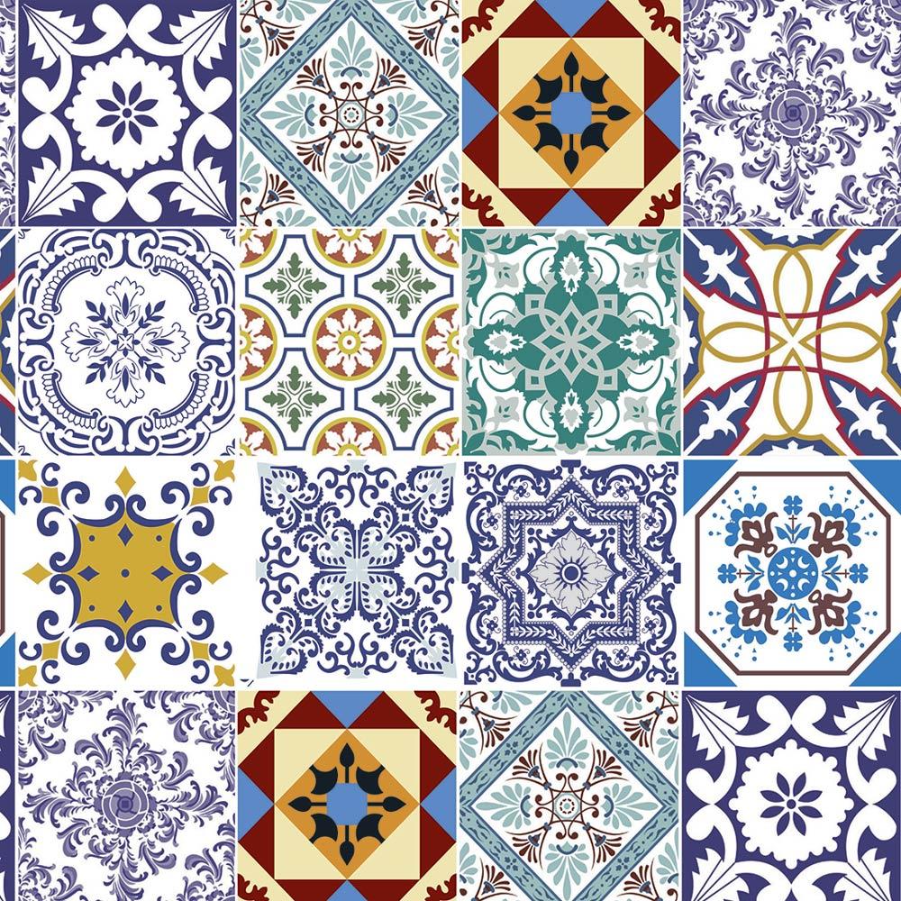 Papel De Parede Para Cozinha Azulejo Português Lavável Mod5