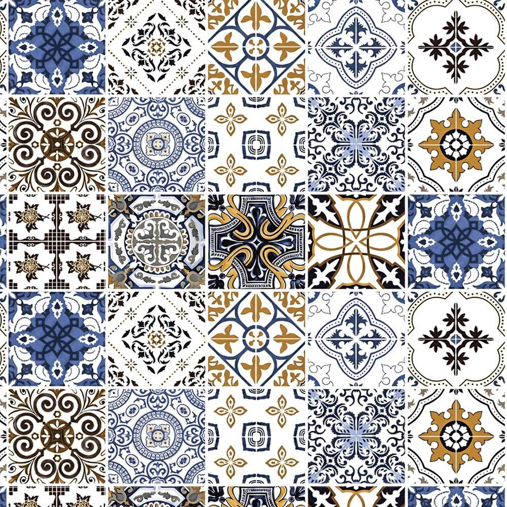 Papel De Parede Para Cozinha Azulejo Português Lavável Mod6