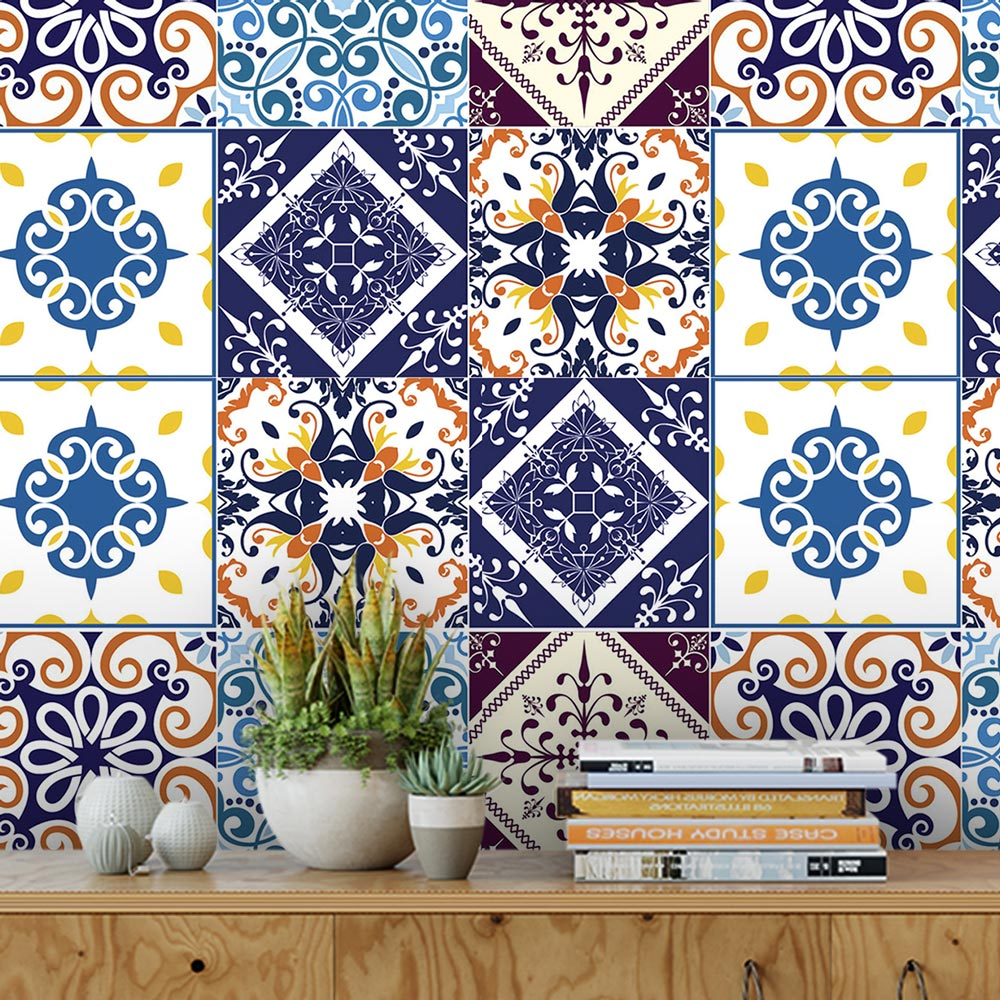 Papel De Parede Para Cozinha Azulejo Português Lavável Mod7