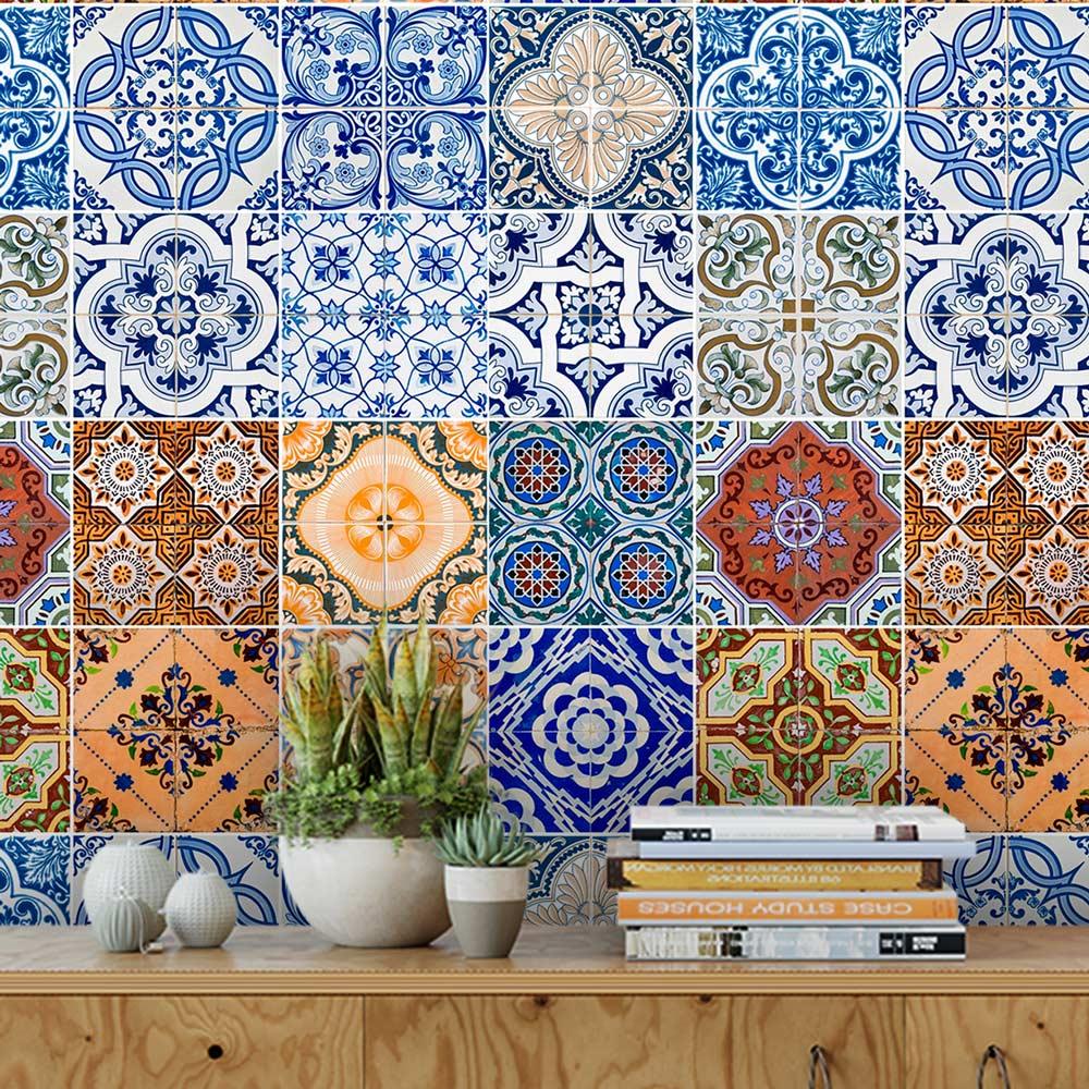 Papel De Parede Para Cozinha Azulejo Português Lavável Mod8