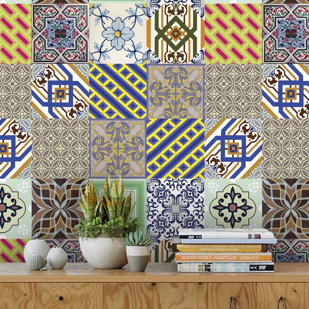 Papel De Parede Para Cozinha Azulejo Português Lavável Mod9