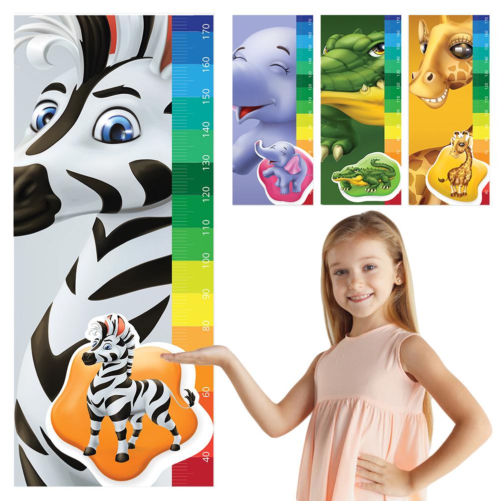 Régua De Crescimento Adesivo Infantil Safári Girafa Zebra