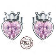 Brinco Prata 925 Feminino Luxo Coroa