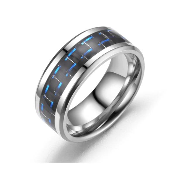Anel Aço Inox com Fibra De Carbono Azul