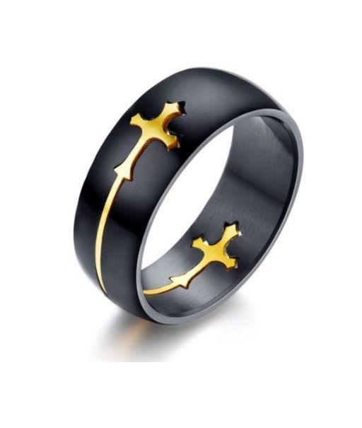 Anel Aço Titanio Preto 8 MM Cruz Ouro