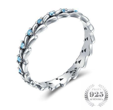 Anel Feminino Prata 925 Azul Luxo