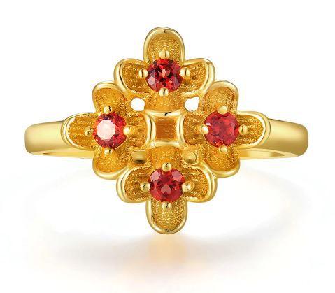 Anel Feminino Prata 925 Banho de Ouro Pedra Natural Granata