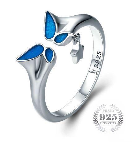 Anel Feminino Prata 925 Borboleta Azul Luxo
