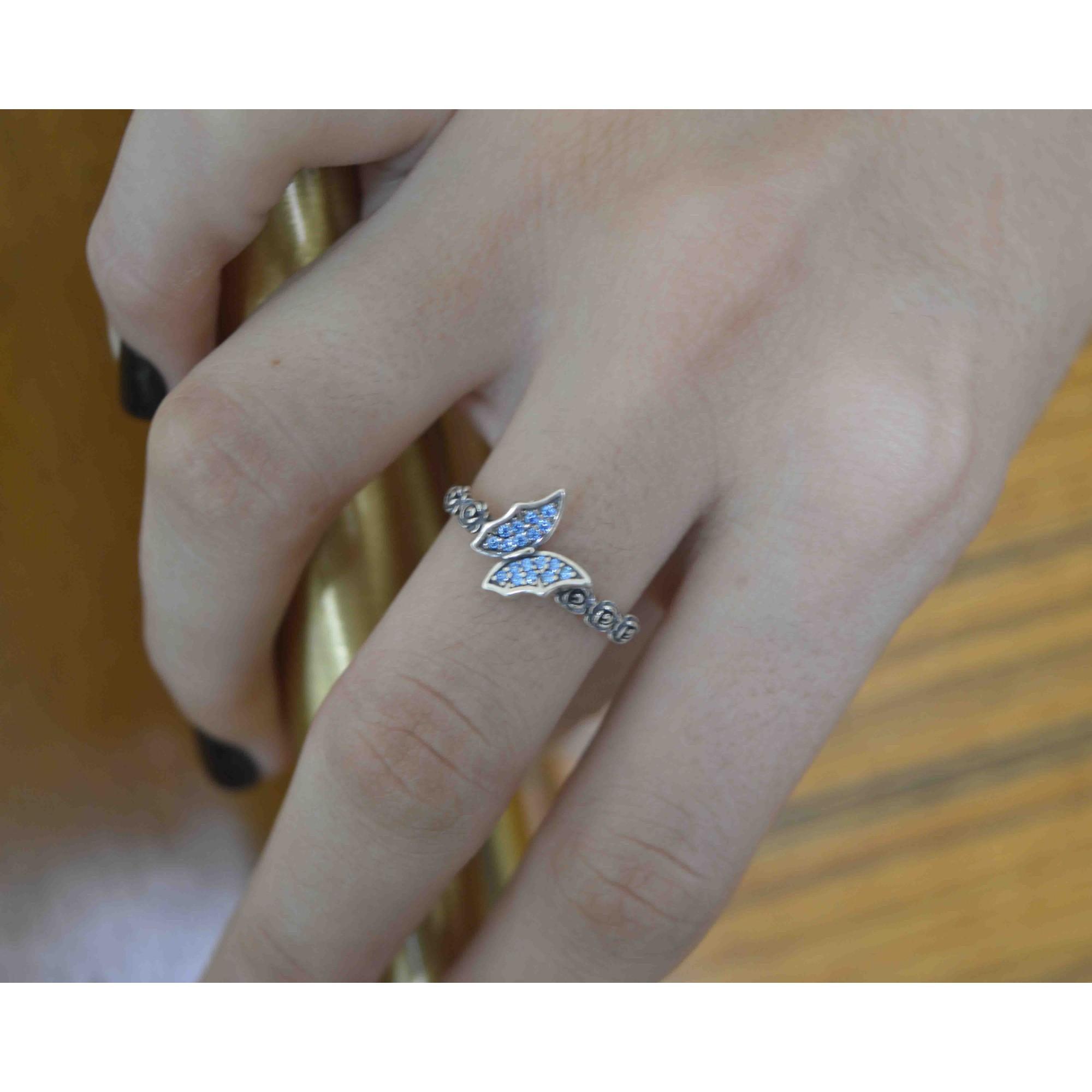 Anel Feminino Prata 925 Borboletas Azul Luxo
