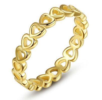 Anel Feminino Prata 925 Folheado Corações Ouro