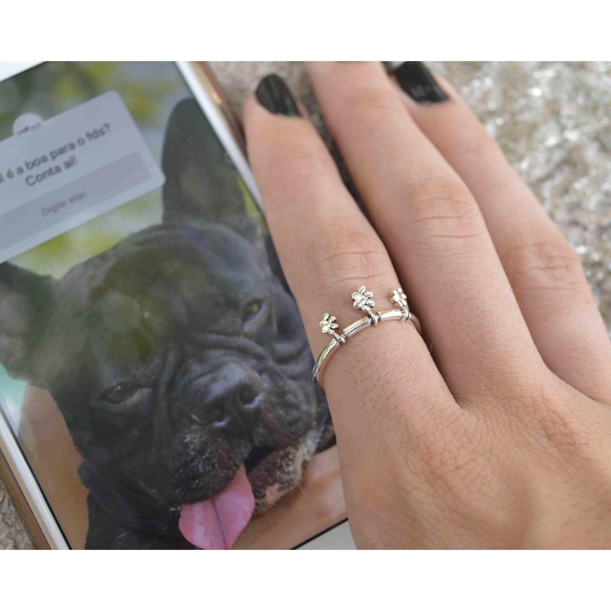 Anel Feminino Prata 925 Love Dog