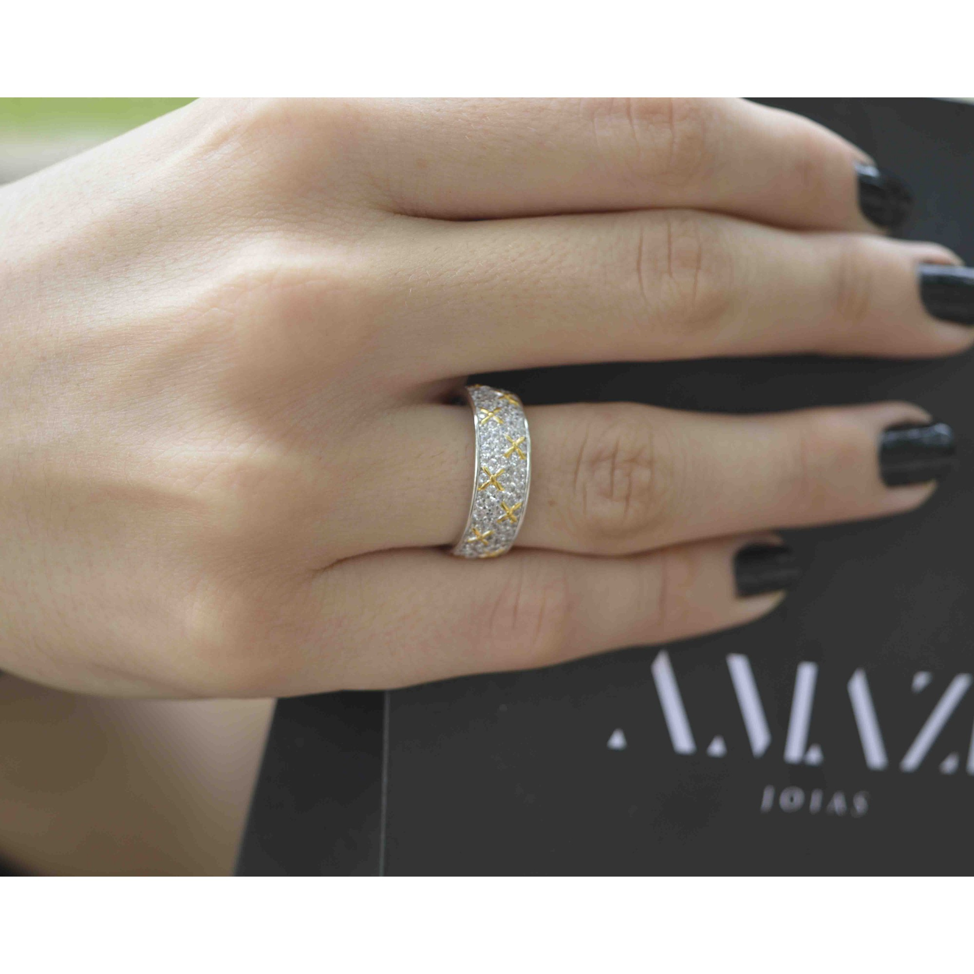 Anel Feminino Prata 925 Zirconias Luxo