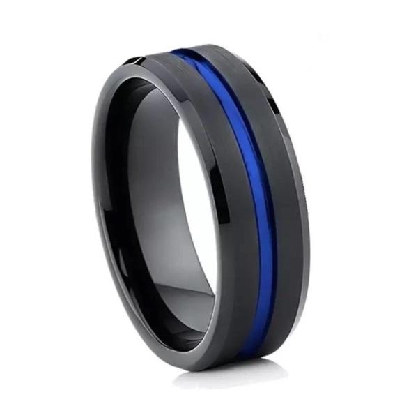 Anel Masculino 8mm Tungstênio Preto e Azul