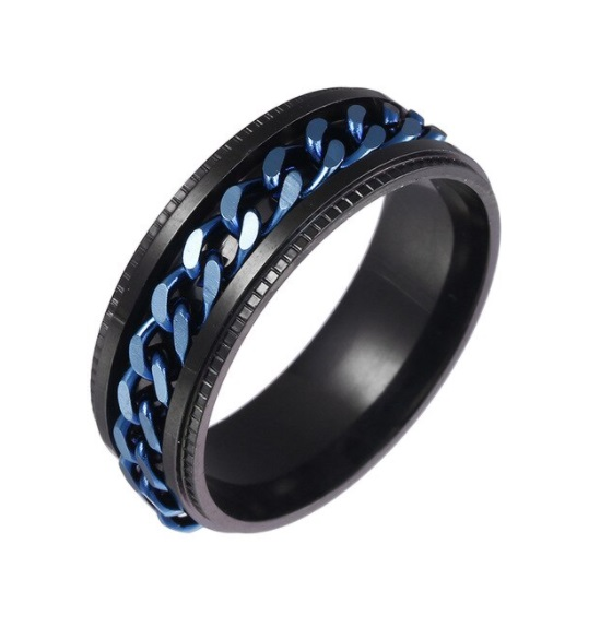 Anel Masculino Preto Corrente Azul Giratória Aço Inox - Edição Limitada
