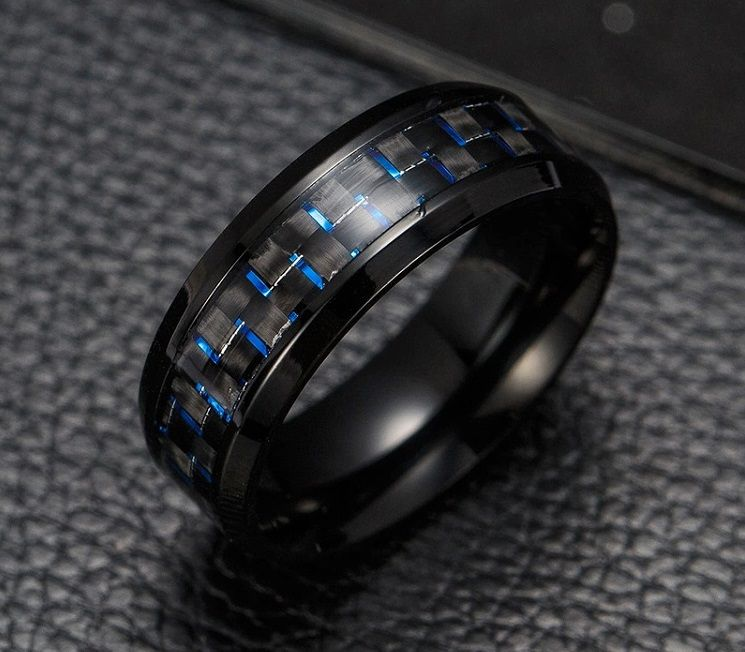 Anel Tungstenio Preta com Fibra De Carbono Azul