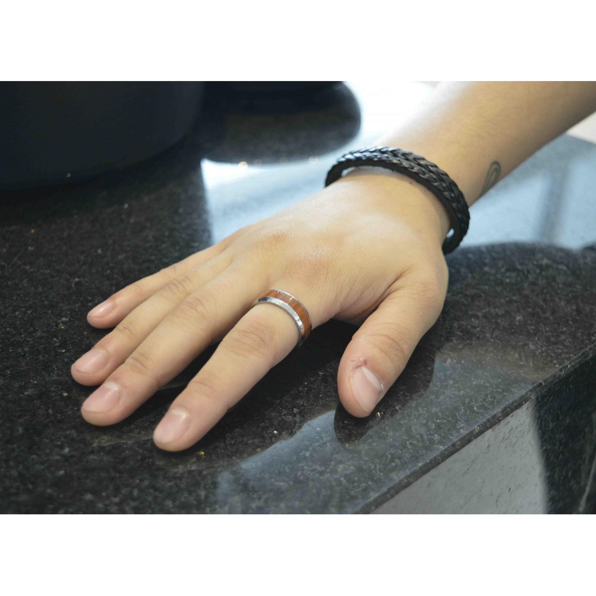 Anel Tungstenio Masculino Madeira Prata + Fibra De Carbono